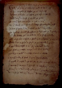 "Book of the Dean of Lismore, p 105 ""Beautifully stained like a pinto horse"" Photo: National Library of Scotland, 1999"