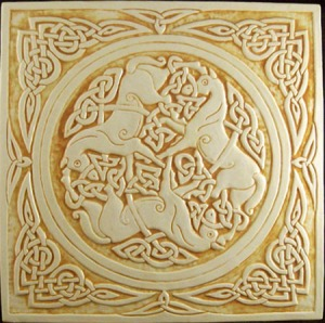 Horse Triskele (Triple Spiral)  Photo: Earthsong Ceramic Tiles